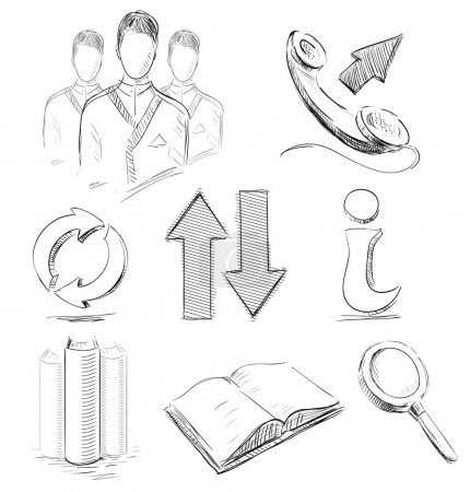Business sketch icons set