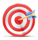 High quality and detailed vector icon of target aim with stylized arrow