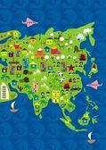 Cartoon map of asia