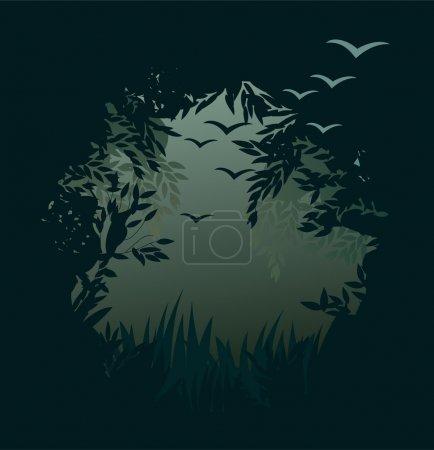 Illustration pour Contexte forestier - image libre de droit