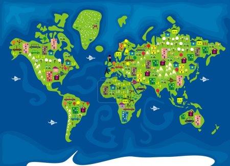 Carte du monde cartoon