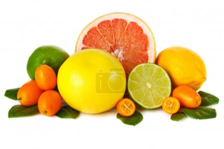 Assorment fresh citrus fruit on a white background...