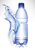 plastic water bottle in fresh water wave