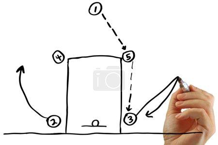 Photo pour Main dessine un jeu de basket avec un marqueur, isolé sur un fond blanc . - image libre de droit