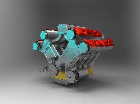 Photo pour Pistons du moteur V8. Image 3D . - image libre de droit