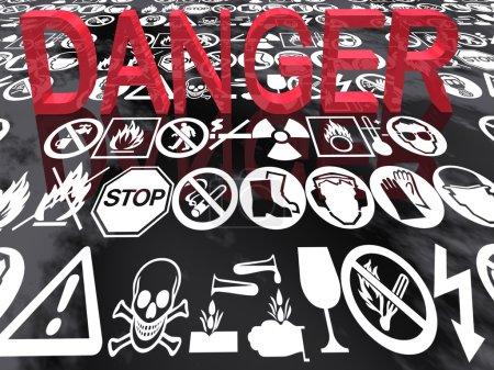 3d illustration of danger signs