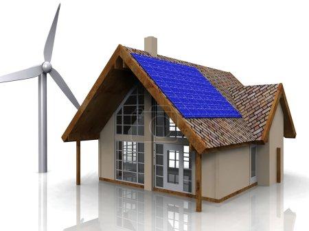 Photo pour Rendu énergétique conceptuel d'une maison avec une éolienne et des panneaux solaires . - image libre de droit