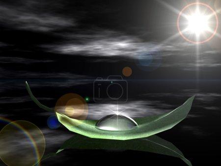 Photo pour Feuille verte avec gouttes d'eau - image libre de droit