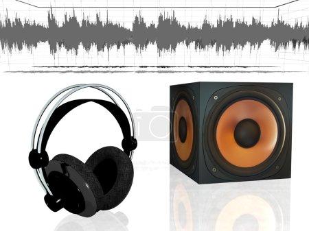 Headphones with audio speaker.