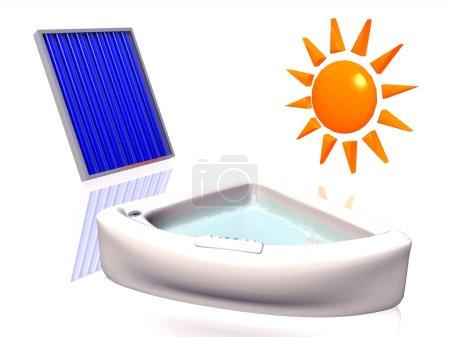 Photo pour 3D illustration d'un chauffage solaire - image libre de droit