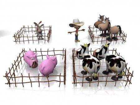 Illustration von Nutztieren.