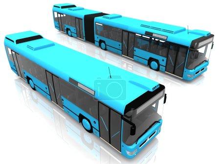Deux bus bleus