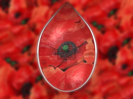 Photo pour Goutte d'eau sur fond de fleurs - image libre de droit