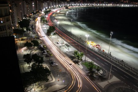 Photo for Rio de Janeiro - CopaCabana by night Taillights, headlights - Royalty Free Image