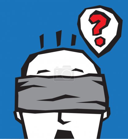 Illustration for The man is thinking with blindfold. Vector color illustration. - Royalty Free Image