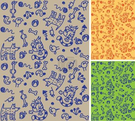 Illustration pour Le motif sans couture drôle avec des animaux de compagnie dessinés à la main à l'encre et des jouets sur le remplissage beige. Deux variations de couleur sont attachées. Illustration vectorielle couleur . - image libre de droit