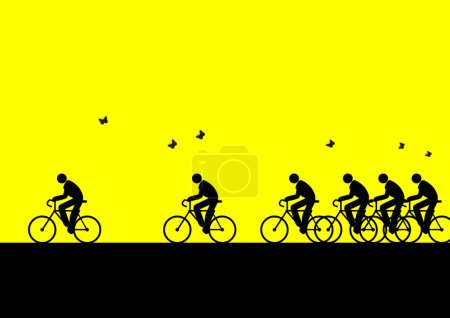 Illustration for Iconic illustration of go to work with bicycle - Royalty Free Image