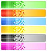 šesti abstraktní bannery s pixely