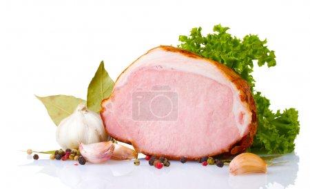Photo for Tasty ham isolated on white - Royalty Free Image