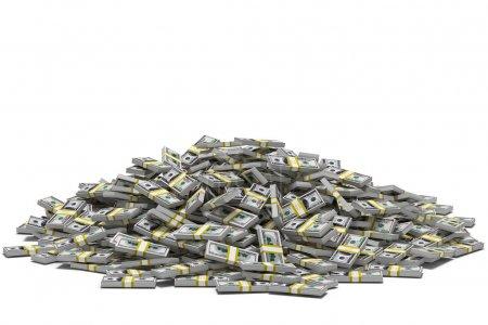 Photo pour Énorme pile de billets de cent dollars, isolé sur blanc . - image libre de droit
