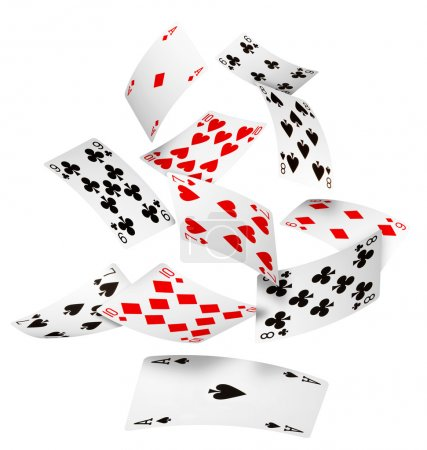 Photo for Playing cards falling on white background - Royalty Free Image