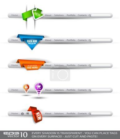 Illustration pour Ensemble de moderne original bannières recherche de style et d'en-têtes de web avec différentes balises d'étiquette pour votre texte. ombres sont tous transparents, donc vous pouvez le placer sur chaque sur - image libre de droit