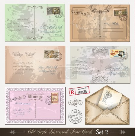 Illustration for Old style distressed postcards (set 2)with a lot of post stamps with vintage designs. Rubber stamps included. - Royalty Free Image