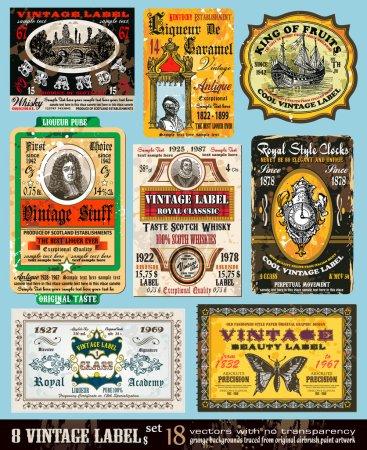 Illustration pour Vintage Labels Collection - 8 éléments de design avec style antique original -Set 18 - image libre de droit