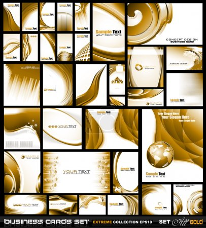 Illustration for Corporate Business Card Collection: Gold Waves - Royalty Free Image