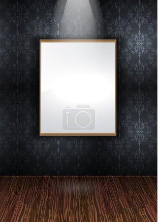 Illustration pour Mur élégant contemporain Showroom avec parquet en bois et papier peint vintage sans couture - image libre de droit