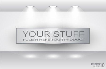Illustration pour Showroom pour produit avec projecteurs LED et place pour texte ou image - image libre de droit