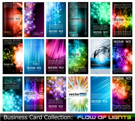 Illustration for Abstract Business Card Collection: Flow of lights - Royalty Free Image