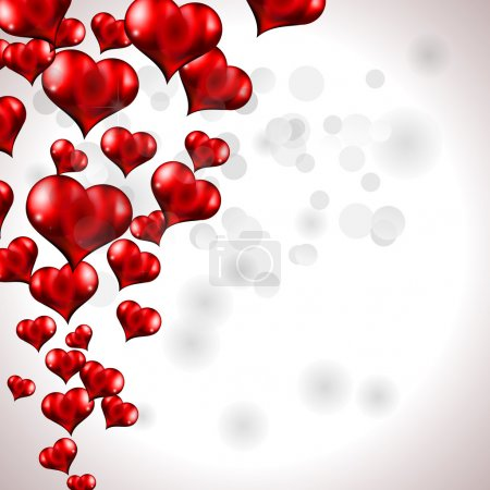 Illustration for Glow of Red Flying Heart Background for Valentine's Day Flyer - Royalty Free Image