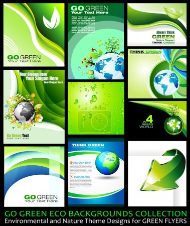Illustration for Go Green Eco Backgrounds Collection - 9 different Environmental Illustrations - Royalty Free Image
