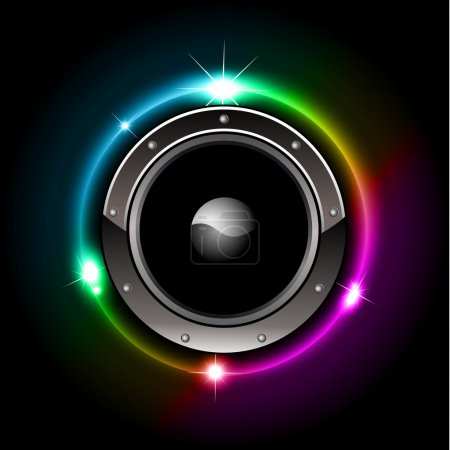 Illustration for Abstract Futuristic Speaker with Glowing Lights Behind - Royalty Free Image