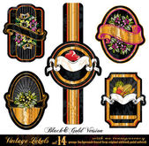 Vintage Labels Black&Gold Version - five elements with unique distressed old style - Set 14