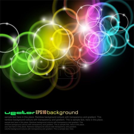 Illustration for Vibrabt Glow Circles with rainbow Colours - Royalty Free Image