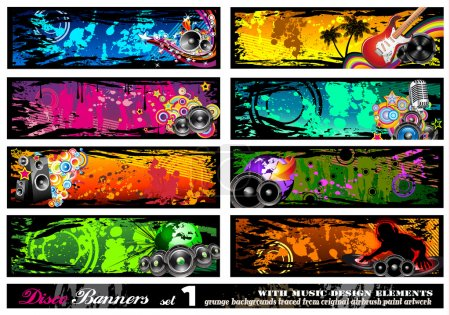 Illustration for Disco Banner Collection with a lot of Music Design Elements - Set 1 - Royalty Free Image