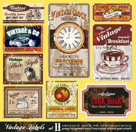 Illustration for Vintage Labels Collection - nine design elements with original antique style -Set 11 - Royalty Free Image