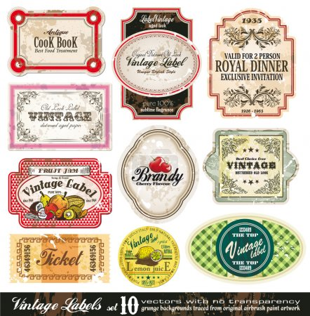 Illustration pour Collection - 10 éléments d'origine antique des étiquettes Vintage style - set 10 - image libre de droit