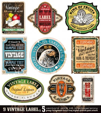 Ilustración de Añada etiquetas colección - elementos de diseño 9 con la antigüedad original estilo - set 5 - Imagen libre de derechos