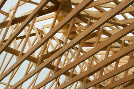 Wooden roof rafters during house construction befo...