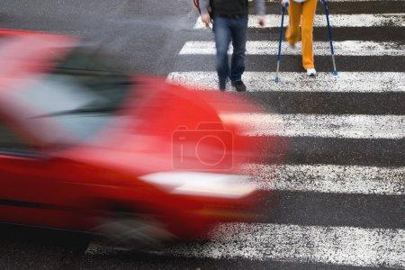 Car withh pedestrians