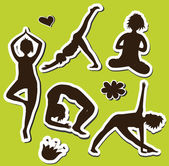 Silhouette of girls doing yoga in 5 poses