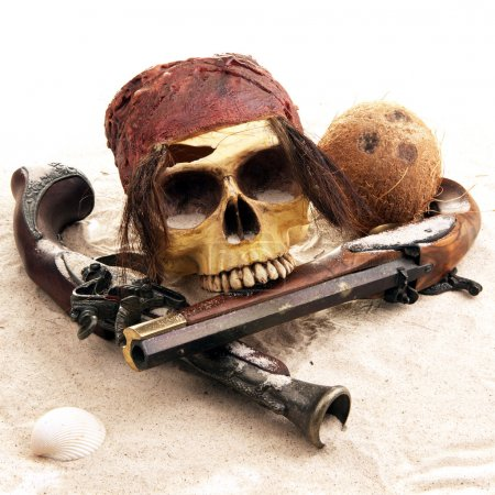 Tropical Pirate scene with seashells and guns...